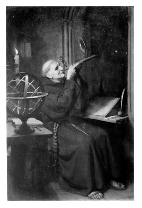 M0001840 Roger Bacon in his observatory at Merton College, Oxford. Oi